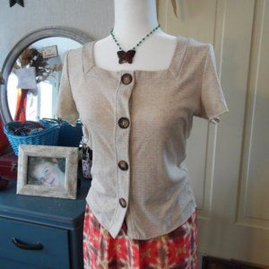 NWT Textured Tortoise Button-Front Square Neck Top